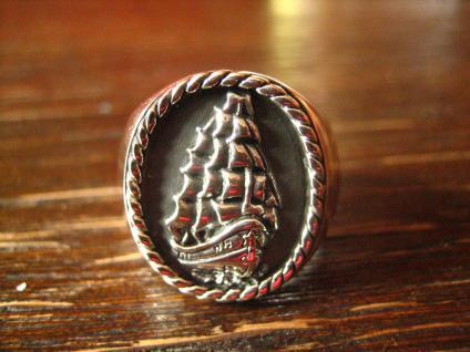 maritimer Herrenring Ring Dreimaster Segelschiff 925er Silber neu et Nox RG 66