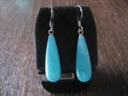 prächtige Ohrringe Hänger Amazonit Pampeln 925er Silber türkis - blau NEU