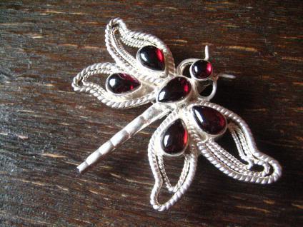 große Libelle als Anhänger / Brosche 925er Silber Almandin Granat Insekten