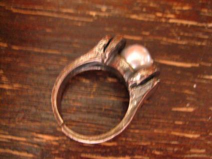 prächtiger Vintage Designer Ring große Perle grau tolles Lüster 925er Silber 54