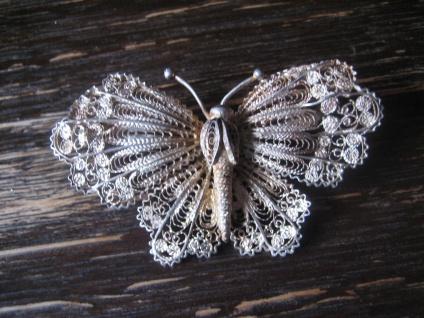 prächtige große Schmetterling Brosche Filigranarbeit Handarbeit 900er Silber