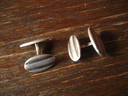 hochwertige Art Deco Manschettenknöpfe oval 835er Silber Handarbeit signiert - Vorschau 3