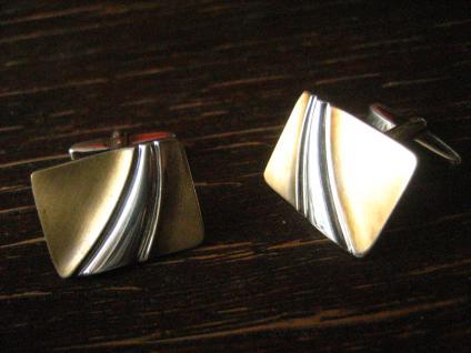 hochelegante Art Deco Manschettenknöpfe 835er Silber teilvergoldet Bicolor Optik - Vorschau 2