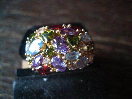 prächtiger vintage Designer Ring Cocktailring 925er Silber gold Topas farbenfroh
