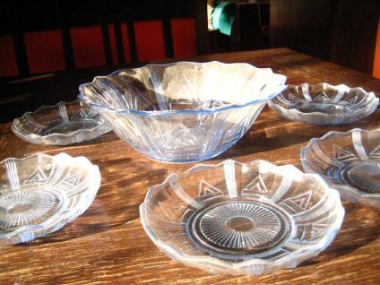 6 Obstteller Dessert Teller + Schüssel Pressglas blau 50er Jahre sehr vielseitig