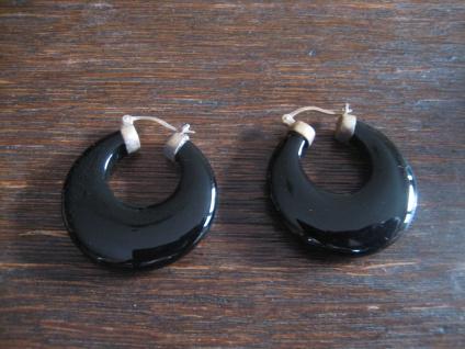 exklusive Ohrringe Hänger große Onyx Creolen 925er Silber Montur NEU