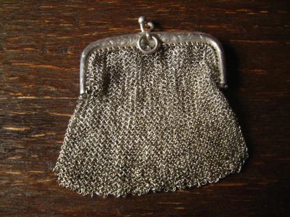 reizende Jugendstil Geldbörse Geldbeutel Kettentasche mit Innenfach 800er Silber