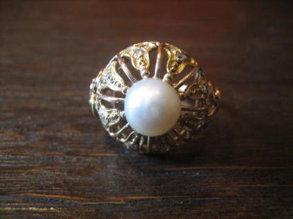 Königlicher Diamant Brilliant Ring echte Perle 585er Gold Cocktailring Perlenring - Vorschau 2