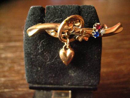 romantische Jugendstil Brosche rotgold mit Herz und Glücksklee rotgold Doublé