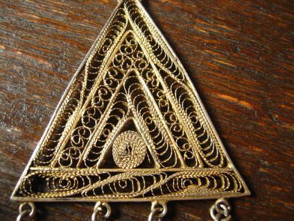 prächtiges Art Deco Collier feine Filigranarbeit 800er Silber gold Handarbeit - Vorschau 2