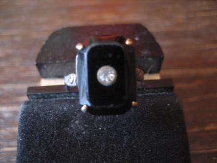 hauchzarter Art Deco Ring Stein schwarz Kristall Silberdoublé RG 57 18, 25 mm