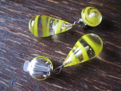 ausgefallene Vintage Ohrringe Clips Ohrclips Hänger Überfangglas gelbe Spiralen - Vorschau 3
