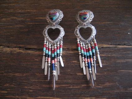 herrliche Indianerschmuck Ohrringe Hänger 925er Silber Farbsteine Navajo Zuni