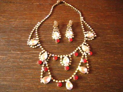 Art Deco Strass Schmuckset Collier + Chandeliers Clips Ohrringe Alt Gablonz