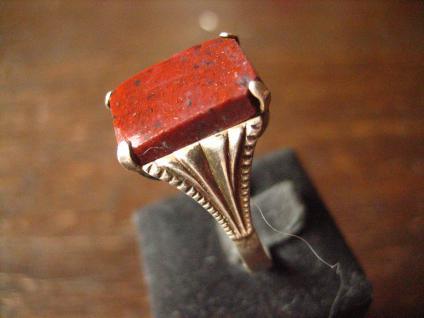 klassischer feiner Art Deco Ring Siegelring Jaspis 835er Silber 18 mm RG 57