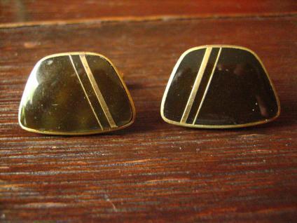 prächtige ausgefallene Vintage Manschettenknöpfe Perlmutt dunkelgrau gold 1950