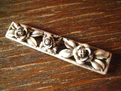 tolle Art Deco Brosche 900er Silber plastische Rosen Rose Krawattennadel Nadel - Vorschau 2
