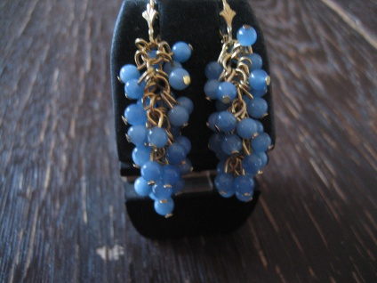 reizende Ohrringe Hänger Blauquarz Kugeln 925er S. gold bewegliche Trauben NEU