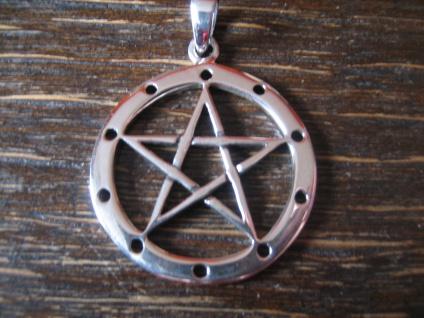 geschmackvoller Anhänger Amulett Drudenfuß Pentagramm Pentakel 925er Silber neu - Vorschau 2