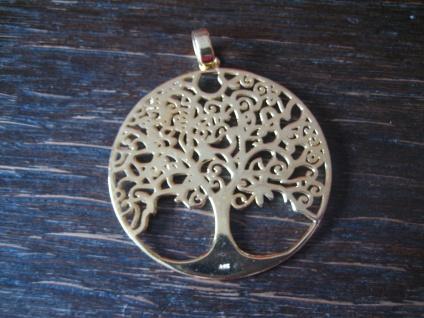 prächtiger großer Anhäger Lebensbaum Baum des Lebens 925er Silber vergoldet 4 cm - Vorschau 2
