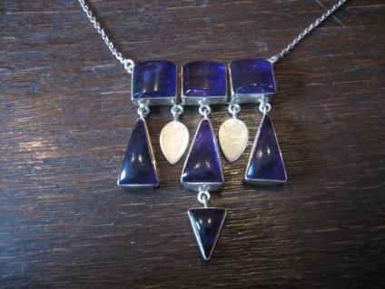 Traum Art Deco Collier Amethyst 835er Silber aufwändig skandinavisches Design