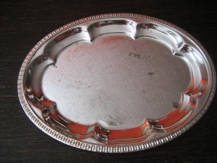 kleines antikes Silbertablett Tablett oval Card Tray versilbert schön verziert