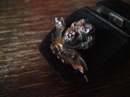 reizende antike Brosche Engel Putto Kopf Schutzengel 925er Silber plastisch - Vorschau 3