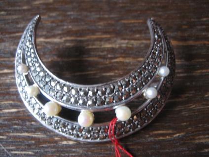 große elegante Art Deco Markasit Brosche Mond Halbmond 925er Silber TOP Zustand