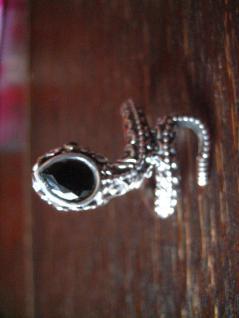 exklusiver Schlangen Ring Schlange 925er Silber blauer Saphir RG 58 / 18, 4 mm