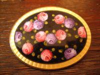 herrliche besonders große Jugendstil Brosche Emaille Rosen Rose Emailmalerei