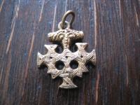 original Hiddenseeschmuck Thorhammer Anhänger Hiddensee 800er Silber gold winzig