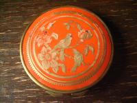 True Vintage Nostalgie edler Spiegel Taschenspiegel mit Puderdose Bakelit Vögel