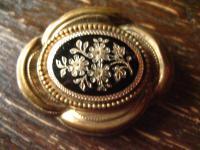 nostalgische original Biedermeier Brosche gold Emaille emailliert wunderschön