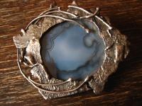 extravagante vintage Designer Brosche 925er Silber Achat Unikat Modernist Brooch