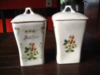 2 Stück antike Jugendstil Vorratsdose Porzellan Kaffee + Gries Erdbeeren Motiv