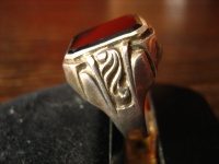 geschmackvoller Art Deco Herrenring Siegelring 835er Silber Onyx Ring RG 65