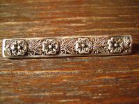 Filigrane antike Krawattennadel Stabnadel 835er Silber 4 zarte Blüten Handarbeit