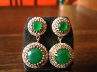 Kronjuwelen gesucht ? Prächtige Ohrringe Hänger Chandeliers 925er Silber Smaragd