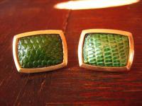 prächtige Vintage Manschettenknöpfe echtes Leder geprägt Echsen Muster grün gold