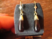 klassische elegante Ohrringe Hänger feine Onyx Pampeln 925er Silber gold NEU