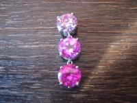 moderne Statement Anhänger 925er Silber Zirkonia leuchtend Pink Glitzerspaß
