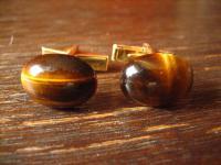 seltene vintage Manschettenknöpfe mit schimmerndem Tigerauge braun gold