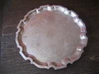 prächtiges Silbertablett Sherry Tablett rund Füsse silber pl 26 cm England
