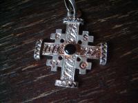 schöner moderner Kreuz Anhänger 925er Sterling Silber Onyx Symbole Sternzeichen