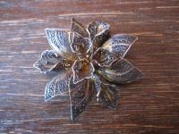 prächtige große Jugendstil Brosche Stern Blüte 925er Silber feine Filigranarbeit