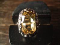 reizvoll zierlicher Art Deco Ring 835er Silber Citrin Zitrin gelb 16, 2 mm RG 51