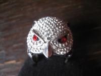 herrlicher Statement Designer Ring 925er Silber Eule Uhu Kautz Glitzer Pavée