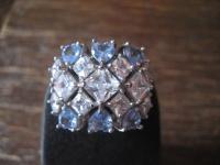 prächtiger vintage Designer Ring Cocktailring 925er Silber Topas Blautopas RG 63