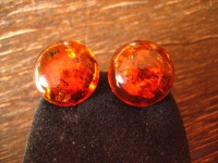 zeitlose Bernstein Ohrringe Clips Ohrclips 16 mm im antiken Stil Amber Earrings