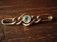 zeitlos elegante Art Deco Krawattennadel Brosche gold Doublé aquamarin Stein